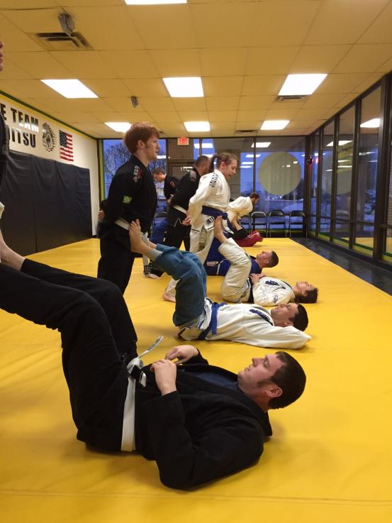 Warm up in Jiu Jitsu Fundamentals Class